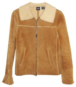 Gap Shearling Faux Fur Suede Brown Leather Jacket