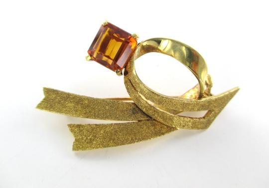 Other 18kt Solid Yellow Gold Pin Brooch Satin with a Big Citrine