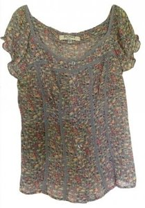 Romy Top Grey with pink and yellow flowers
