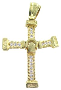 Other Stunning Large 14kt SOLID YELLOW Gold mobile Cross with white stones Pendant
