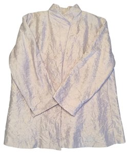 Eileen Fisher Vented Back Crinkled Silk Unstructured Lavender Jacket