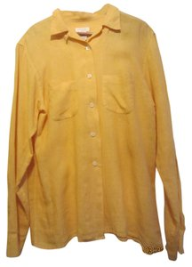 Victoire Paris Fine Linen Excellent Quality Button Down Shirt yellow