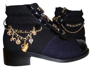 Chanel Black Navy Boots