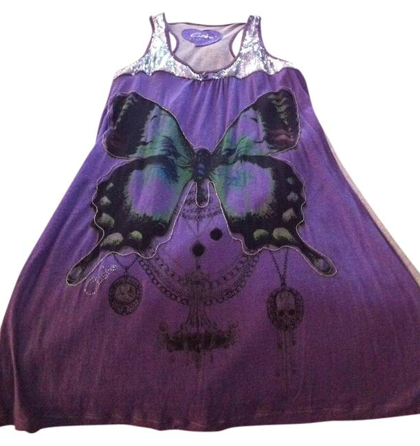 Item - Purple and Silver Sun Short Casual Dress Size 4 (S)