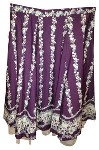 Roxy Sequin Midi Skirt Purple Floral With Sequins