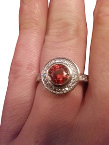 9.2.5 gorgeous orange and white topaz cocktail ring. size7