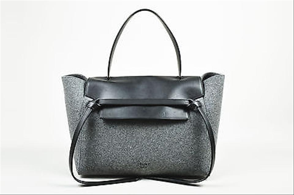 celine royal blue luggage - C��line Celine Winter 2014 Black And Gray Wool And Felt Top Handle ...