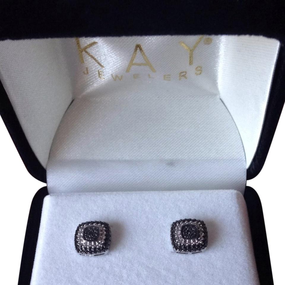 Kay Jewelers Black Diamond Sterling Silver Earrings 45 Off Retail