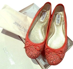 Jimmy Choo Embellished Crystals Coral Flats