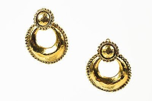 Chanel Vintage Chanel Gold Tone Hammered Convertible Hoop Clip On Earrings