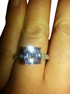 9.2.5 beautiful amethyst and white sapphire princess ring 925 size7