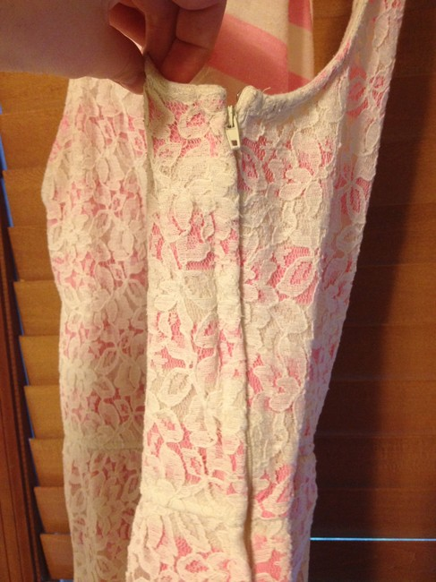 Mossimo Supply Co. short dress White and Pink Striped Flowers Short on Tradesy