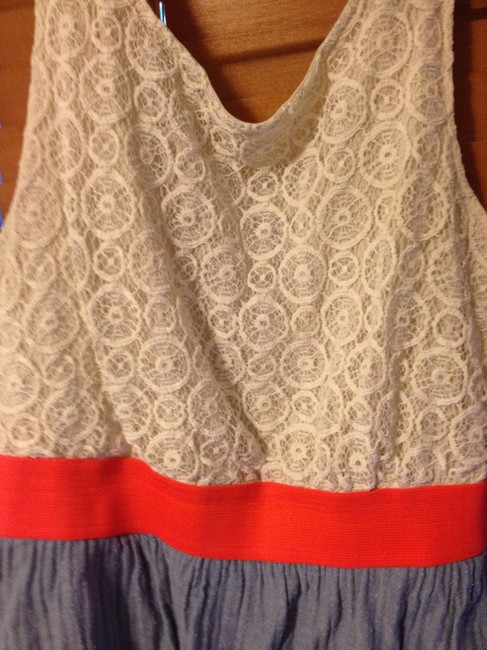 L8ter short dress Cream and blue Lace Short Tank White on Tradesy