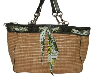 Gucci Gold Hardware Snakeskin Tote in Straw & Green