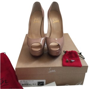 Christian Louboutin Lady Peep Red Bottoms Nude Platforms