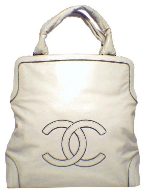 Chanel Cc Chain Logo Handbag Cream Leather Tote Chanel Cc Chain Logo Handbag Cream Leather Tote Image 1