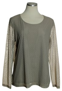 Chico's Lace Long Sleeve Polka Dot Top Beige