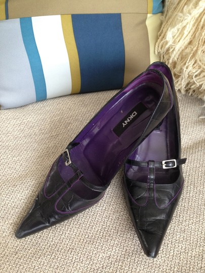 DKNY Crocodile Buckle Black leather purple piping Pumps