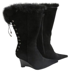 Luichiny Laced Up Wedge Boot Black Boots
