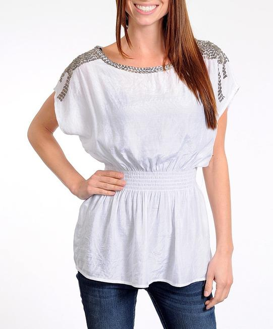 Other Chiffon Beaded Shoulders Top White