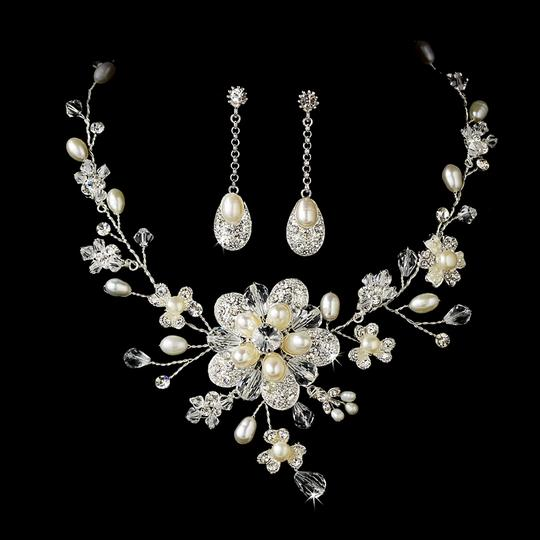 Elegance By Carbonneau Freshwater Pearl And Crystal Floral Wedding Jewelry Set