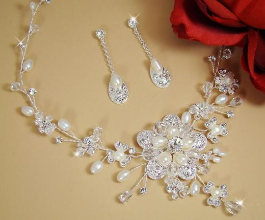 Elegance by Carbonneau Silver Freshwater Pearl and Crystal Floral Jewelry Set