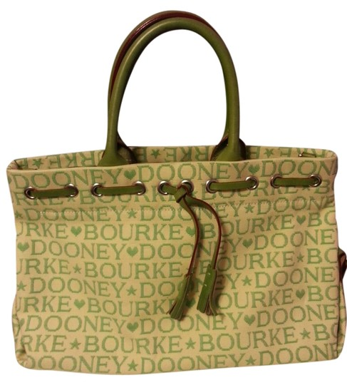 Preload https://item2.tradesy.com/images/dooney-and-bourke-creme-and-green-canvasleather-satchel-1150451-0-0.jpg?width=440&height=440