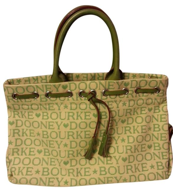 Dooney & Bourke Creme and Green Canvas/Leather Satchel Dooney & Bourke Creme and Green Canvas/Leather Satchel Image 1