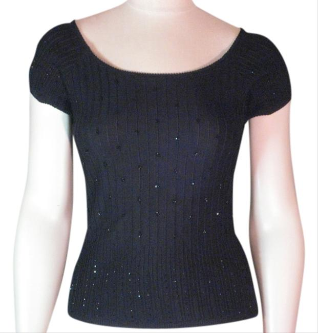 Preload https://img-static.tradesy.com/item/1150461/laundry-by-shelli-segal-cap-sleeve-with-raised-stripes-and-shiny-beads-black-sweater-0-0-650-650.jpg