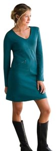 Athleta short dress Teal Ponte Knit V-neck Long Sleeve on Tradesy