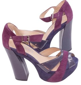 Report Signature Heels Platform Ankle Strap Wine Sandals