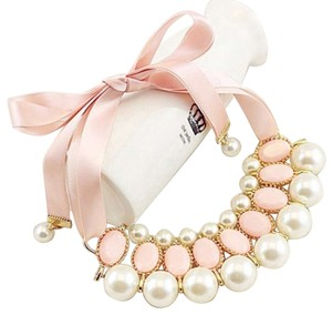 Chunky Pearls Pink Bib Necklace with Ribbon