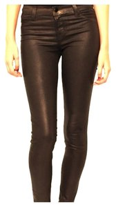 J Brand Coated Leather Sheen Skinny Jeans-Coated