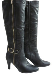 White Mountain Black Faux Leather Heel Boot Black, Gold Boots