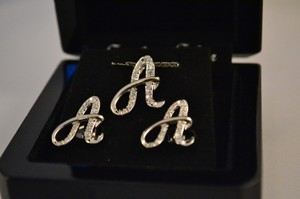 Sterling Silver Necklace Earring Initial Jewelry Set