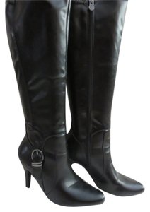 Dana Buchman Faux Leather Heel Boot Black Boots
