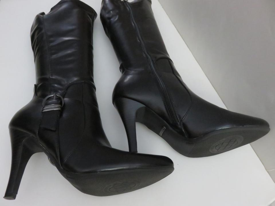 ad7fad4c916d Dana Buchman Black Faux Leather Knee High Tall with Buckle Boots ...