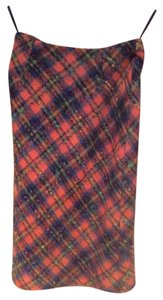 Charles Gray London Orange Plaid Wool Skirt Multi