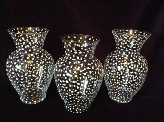 Clear Polka Dot 8 Glass Vases with Pattern Reception Decorations