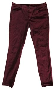 Ann Taylor LOFT Corduroy Ox Blood Petite Chords Super Skinny Pants Burgundy