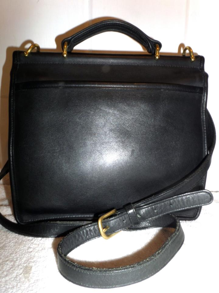 855f129e67 Coach Willis 9927 Thick Leather Dowel Top Satchel Black Shoulder Bag ...