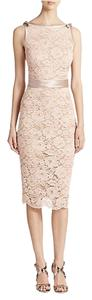 A.B.S. by Allen Schwartz Lace Coctail Lace Boatneck Scalloped Dress