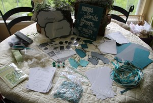 Teal Brown Blue Green Grey White Misc. Paper Ribbon Lace Confetti Signs Stickers Games