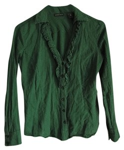 New York & Company Plaid Black Fall Ruffle V-neck Button Down Shirt Green