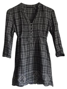 New York & Company Plaid Metallic Embroidered Sash Tunic