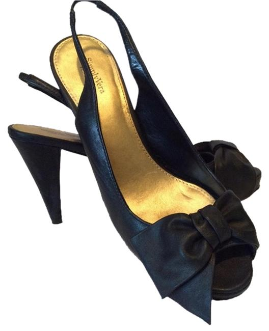 Vera Wang Black Wedge Heel Open Toe Pumps Size US 8.5 Regular (M, B) Image 1