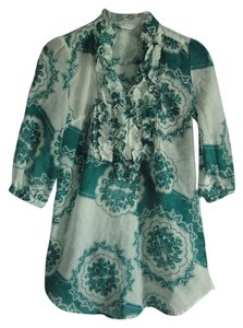 New York & Company White Teal Pattern Summer Tunic
