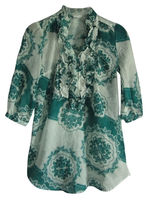 New York & Company Pattern Summer Sheer 3/4 Sleeves Ruffle Ruffle Tunic