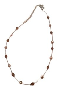 Lia Sophia Pearl & Brown Stones Necklace