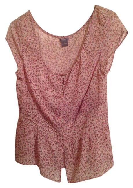 Ann Taylor Top Ivory with Red Flowers